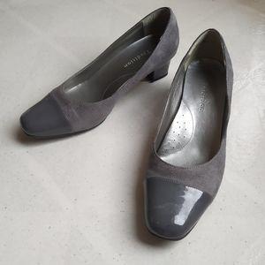 Gray Suede Cap Toe Heels